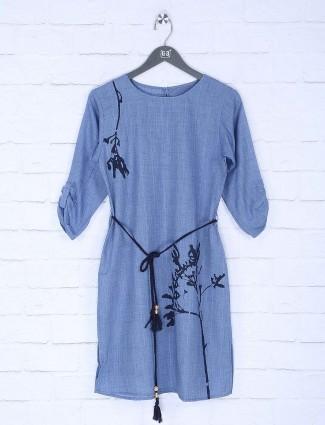 Blue color designer top