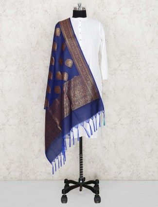 Blue color elegant silk fabric dupatta
