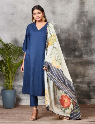 Blue color festive chanderi silk punjabi salwar suit