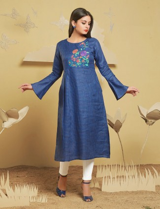 Blue color festive wear simple kurti