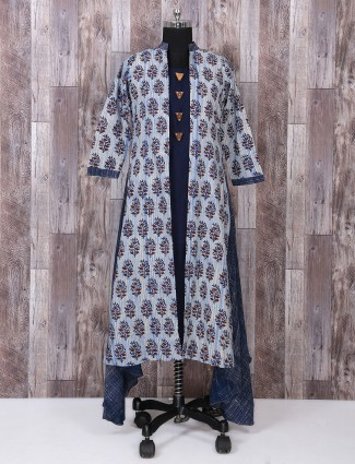 Blue color jacket style simple salwar suit
