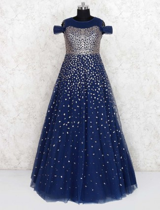 Blue color net fabric party floor length gown