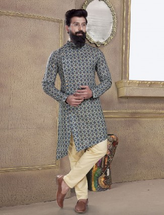 Blue color printed kurta suit for festive