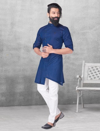Blue color silk plain kurta suit