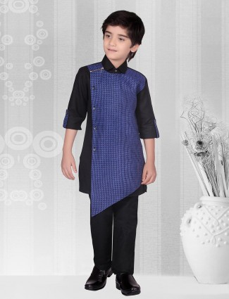 Blue color solid cotton kurta suit
