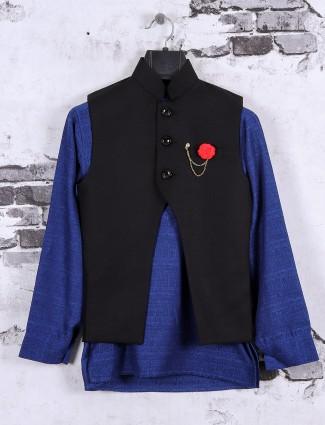 Blue color waistcoat set