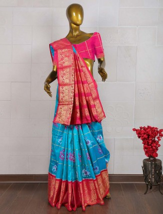 Blue color wedding wear saree in patola