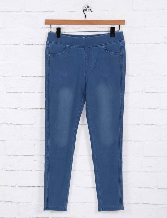 Blue colored hue cotton jeggings