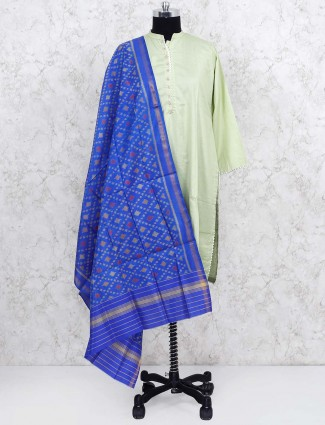 Blue colored patola silk dupatta