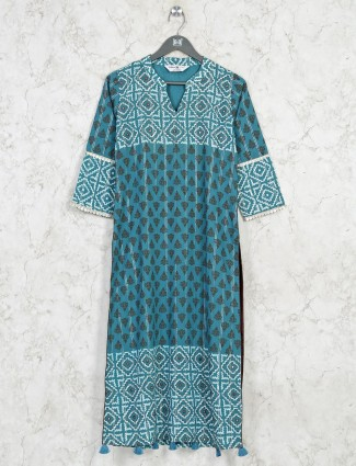 Blue cotton casual printed kurti