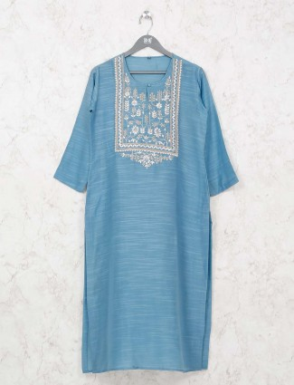 Blue cotton kurti for casual wear