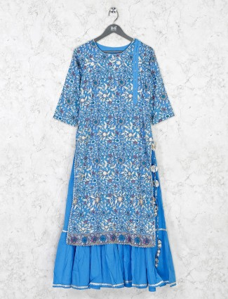 Blue cotton kurti in printed design
