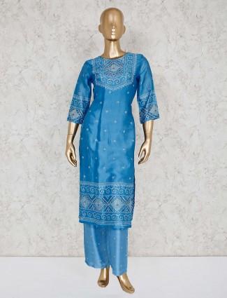 Blue cotton printed punjabi palazzo suit