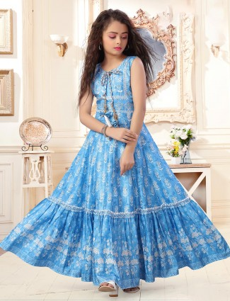Blue cotton round neck anarkali suit