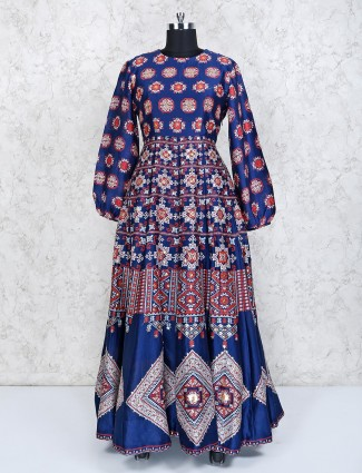 Blue cotton silk designer anarkali suit