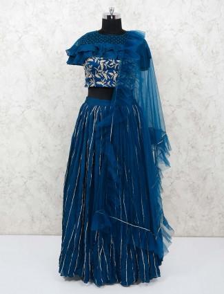 Blue georgette party lehenga choli