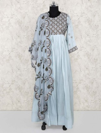 Blue hue cotton fabric anarkali salwar suit