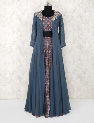 Blue hue cotton fabric jecket style lehenga suit