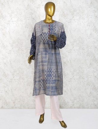 Blue hue cotton fabric printed punjabi salwar suit
