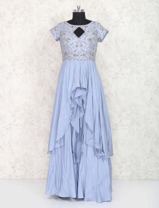 Blue hue cotton silk designer anarkali suit