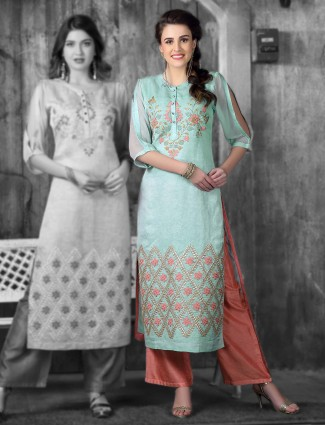 Blue hue cotton silk festive wear kurti