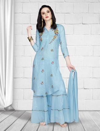 Blue hue linen festive sharara suit
