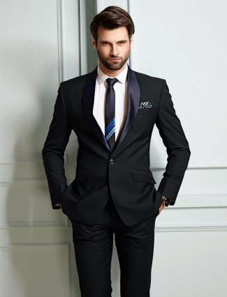 Blue hue mens solid coat suit party wear