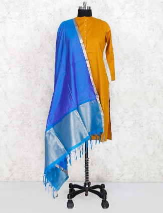 Blue hue pretty dupatta in silk fabric