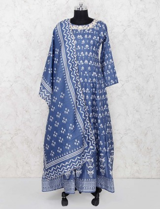 Blue hue printed festive wear floor length anarkali salwar suit