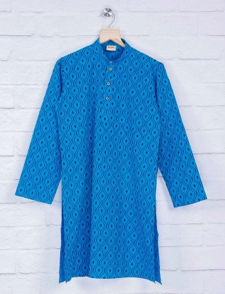 Blue hue printed pattern suit