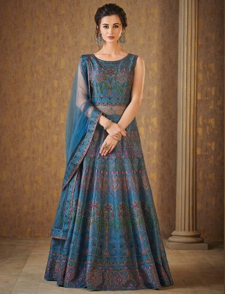 Blue hue raw silk floor length anarkali suit