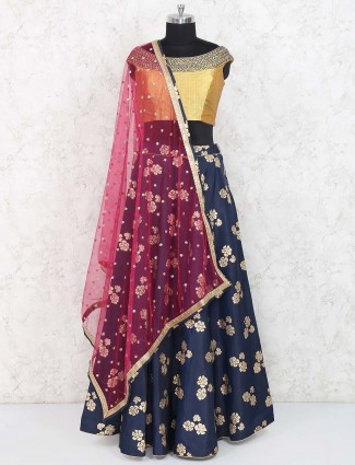 Blue hue raw silk lovely lehenga choli