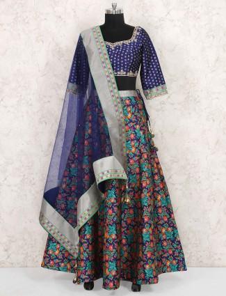 Blue hue silk wedding lehenga choli