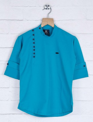 Blue hue solid cotton kurta