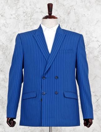 Blue hue stripe pattern party wear blazer