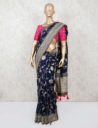 Blue munga silk saree for festivals