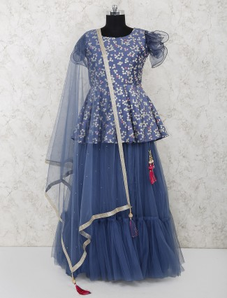 Blue net fabric festive occasion lehenga choli