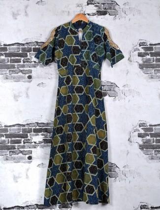 Blue olive cotton kurti