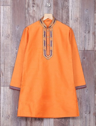 Blue orange silk wedding wear kurta suit