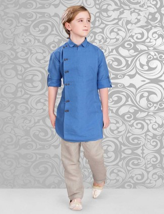 Blue pathani suit in cotton fabric