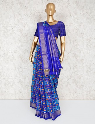 Blue patola silk wedding wear sari