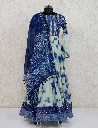 Blue printed cotton anarkali salwar kameez
