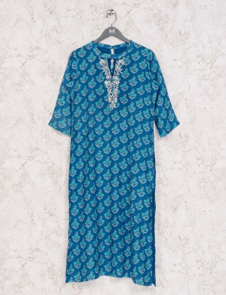 Blue printed cotton casual wear kurti