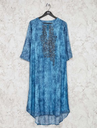 Blue printed cotton tunic for festive wear