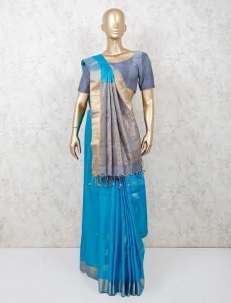 Blue saree in south pure silk for festival