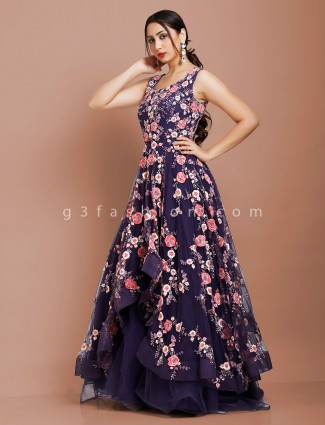 Blue sequins and cutdana work net fabric gown