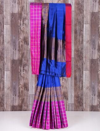 Blue silk alluring saree