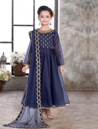 Blue silk fabric girls long suit