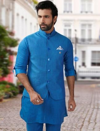 Blue silk festive wear waistcoat set