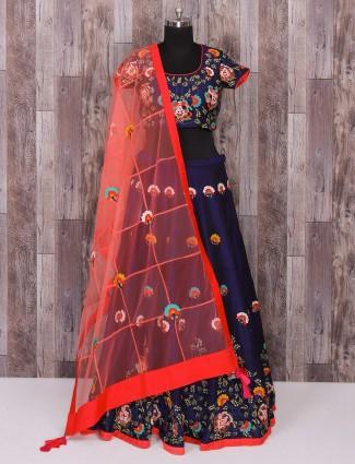 Blue silk wedding wear alluring lehenga choli